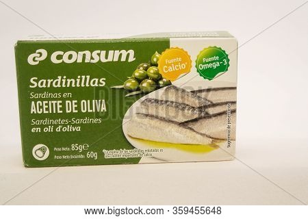 Torrevieja, Valenciana, Spain - Apr 04 2020 : Tin Of Sardines In Olive Oil With Copy Space.