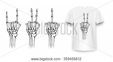 T-shirt Design With Skeleton Hands. Vintage Typography For Tee Print, Skeleton Hand With Different G