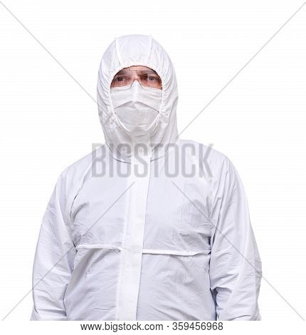 Male Epidemiologist In Coverall Disposable Anti-epidemic Antibacterial Isolation Suit Isolated On Wh