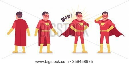 Male Super Hero In Classic Red Costume. Heroic Strong Brave Warrior, Superpower Man With Superior Co