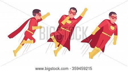 Male Super Hero In Classic Costume, Flying Pose. Heroic Strong Brave Warrior, Superpower Man With Su