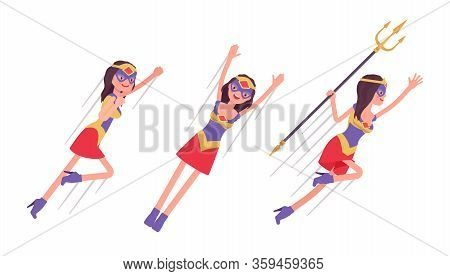 Female Super Hero In Attractive Costume Flying Pose. Effective Wonder Warrior, Superpower Sexy Woman