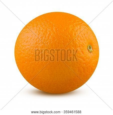 Orange Isolated. Orange Closeup On White Background. Highly Retouched Citrus Fruit. Full Depth Of Fi