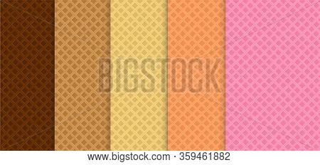Collection Of Colorfull Wafer Seamless Backgrounds - Vector