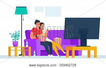 Couple Watching Tv. Cartoon Boy And Girl Characters Watching Movie At Home, People Spending Weekend