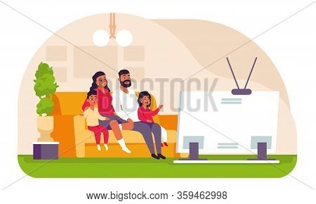 Family Watching Tv. Cartoon Father Mother And Children Spending Weekend At Home, Sitting On Couch An