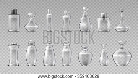 Perfume Bottles. Realistic 3d Glass Containers For Fragrance Water, Aroma Cosmetic Spray Flask. Vect