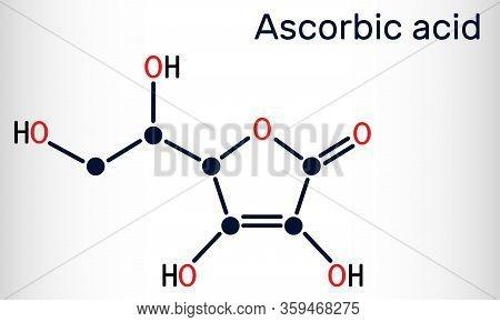 Ascorbic Acid, Vitamin C, C6h8o6 Molecule. Food Additive E300. Structural Chemical Formula. Vector I