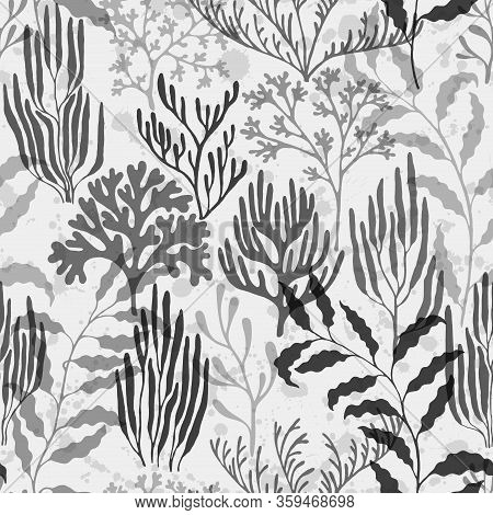 Coral Reef Seamless Pattern. Kelp Laminaria Seaweed Algae Background. Undersea Reef Flora Pattern. C