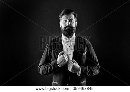 Classy Is More Stylish. Stylish Groom Black Background. Bearded Man In Formal Stylish Look. Fashion