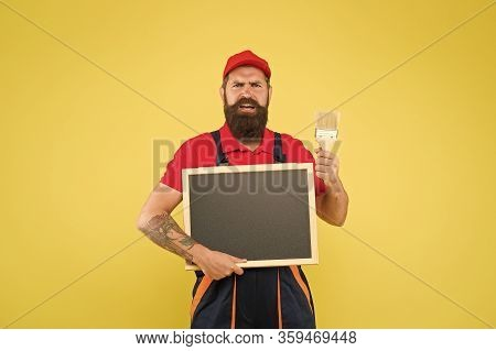 Man Worker With Paint Brush. Builder Regular Worker. Repair And Renovation. Quick Repair. Creative D