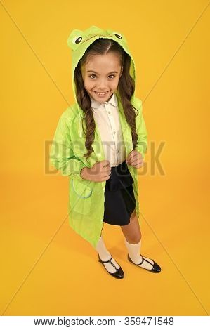 Cute Raincoat Kids Would Love. Frog Style. Schoolgirl Hooded Raincoat Enjoy Fall Weather. Rainproof
