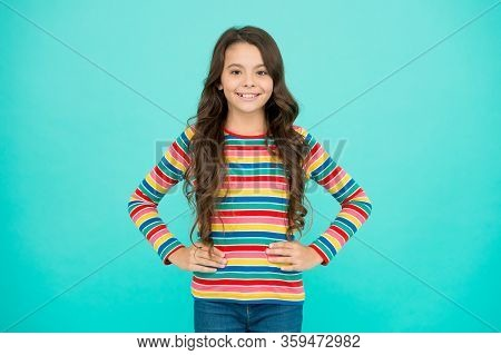 Little Beauty Optimist. Express Positive Emotions. Happy Small Girl Turquoise Background. Cheerful S