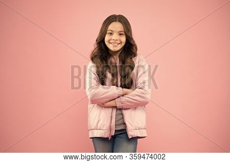 Trendy Outfit. Little Kid Wear Pink Bomber Jacket. Fashion Girl. Modern Fashion For Kids. Clothes St
