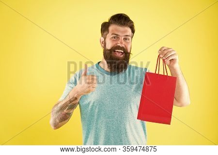 New Collection. Happy Hipster Hold Paperbag. Man With Gift Package. Buy Product. Little Pleasantness