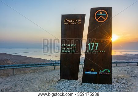 Sign Noting The Altitude Of 177 Meters Beiow Sea Level