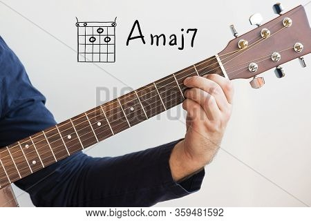 Learn Guitar - Man In A Dark Blue Shirt Playing Guitar Chords Displayed On Whiteboard, Chord A Major