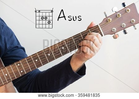 Learn Guitar - Man In A Dark Blue Shirt Playing Guitar Chords Displayed On Whiteboard, Chord A Sus
