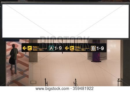 Blank Advertising Billboard At Airport,mock Up Poster Media Template Ads Display