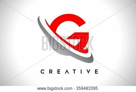 G, Swoosh, Red, Gray, Logo, Letter, Design, Creative, Typography, Logo, Corporate, Business, Concept