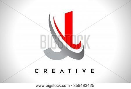 J, Swoosh, Red, Gray, Logo, Letter, Design, Creative, Typography, Logo, Corporate, Business, Concept