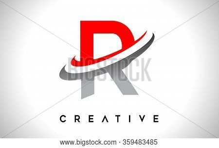 R, Swoosh, Red, Gray, Logo, Letter, Design, Creative, Typography, Logo, Corporate, Business, Concept