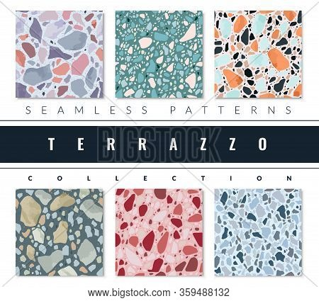 Terrazzo Patterns Set. A Collection Of Six Seamless Textures In Terrazzo Style. Artificial Stone Pat