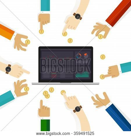 Equity Funds Mutual Fund That Invests Principally In Stocks. People Holding Money Coin And Stocks Mo