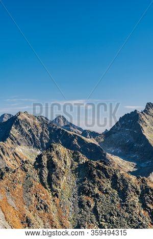 Strbsky Stit, Ladovy Stit, Rysy, Lomnicky Stit And Tazky Stit Mountain Peaks From Furkotsky Stit Mou