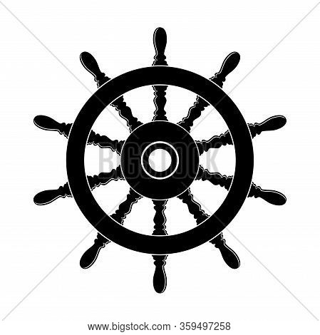 Vector Steering Wheel Of A Ship, Boat And Yacht Isolated On White Background. Rudder Direction Conce