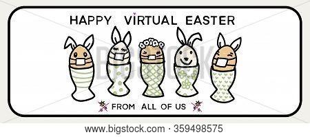 Corona Virus Happy Easter Bunny Egg Social Media Message. Quarantine Virtual Business Clipart Banner