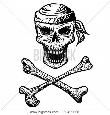 Hand Drawn Skull Of A Dead Man In A Bandana, With Crossbones, On A White Background. Vector Illustra