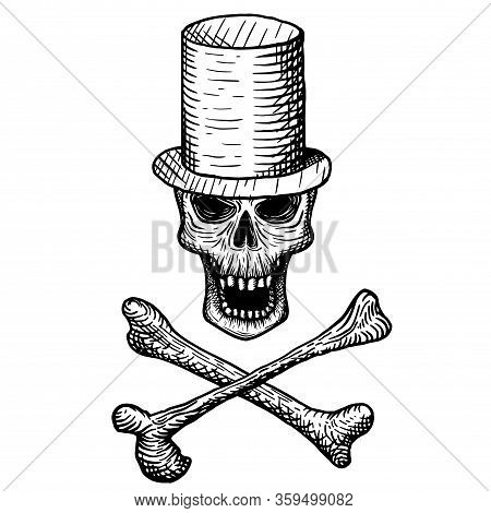 Hand-drawn Skull Of A Dead Man In A Top Hat, With Crossbones, On A White Background. Vector Illustra