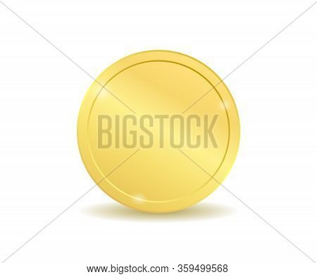 Realistic Gold Coin, Golden Penny On The White Backround
