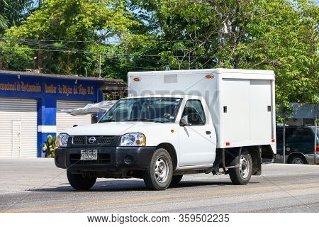Palenque, Mexico - May 22, 2017: Cargo Truck Nissan Frontier In The City Street.