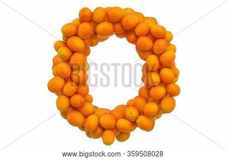 Letter O From Oranges, 3d Rendering Isolated On  White Background