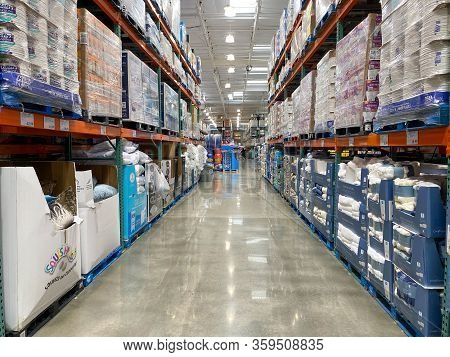 Ailse In A Costco Store Different Products. Costco Wholesale Corporation Is The Largest Membership-o