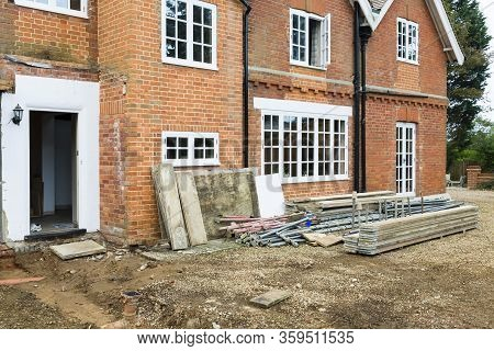 Home Improvement, Building Work Outside A Victorian House In  Buckinghamshire, Uk