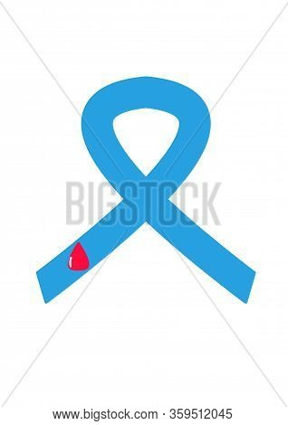 Light Blue Ribbons With Blood, World Diabetes Day