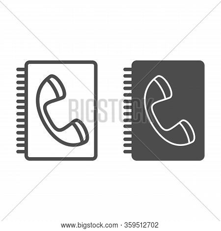 Book Of Contacts Line And Glyph Icon. Phone Handset And Notepad Symbol, Outline Style Pictogram On W