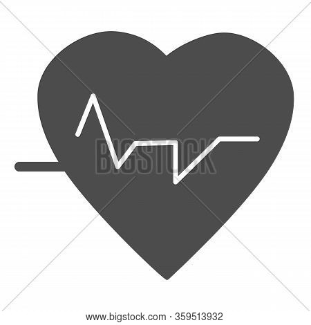 Heartbeat Solid Icon. Heart With Pulse, Electrocardiogram Symbol, Glyph Style Pictogram On White Bac