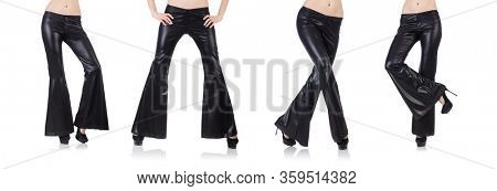 The black leather bell-bottomed trousers