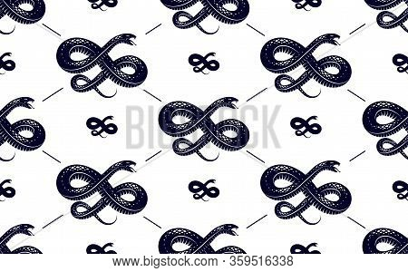 Seamless Snakes Pattern In Vintage Drawing Style, Dangerous Poisoned Reptiles Vector Background, End