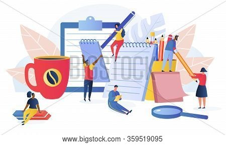 Notes Vector Illustration. Multiracial Tiny People Writing On Giant Notebooks. Stationery Blank Shee