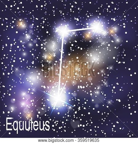 Equuleus Constellation With Beautiful Bright Stars On The Background Of Cosmic Sky  Illustration