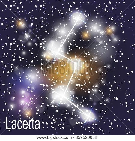 Lacerta Constellation With Beautiful Bright Stars On The Background Of Cosmic Sky  Illustration