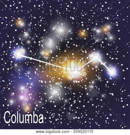 Columba Constellation With Beautiful Bright Stars On The Background Of Cosmic Sky  Illustration