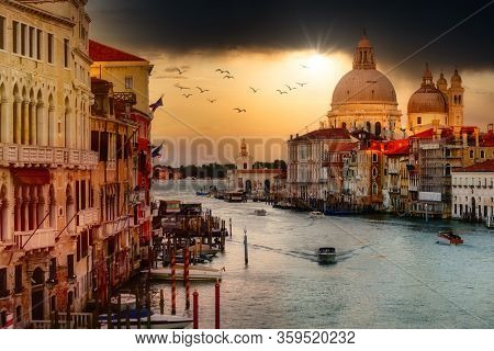 The Grand Canal in Venice at sunset - view from the Ponte dell'Accademia