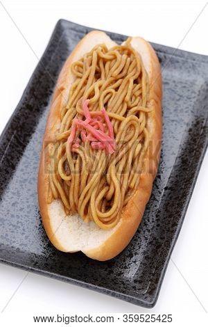 Japanese Food, Yakisoba Pan Bread On Dish, On White Background