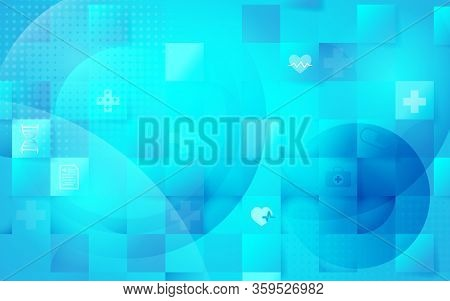 Health Care And Science Icons Medical Innovation Concept In Heart Shaped Hologram. Abstract Geometri